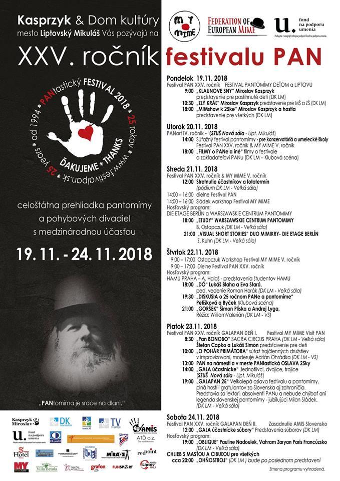 Liptov akcie udalosti lipovzije liptov zije pantomima liptovsky mikulas XXV. rocnik festivalu PAN festival mimov